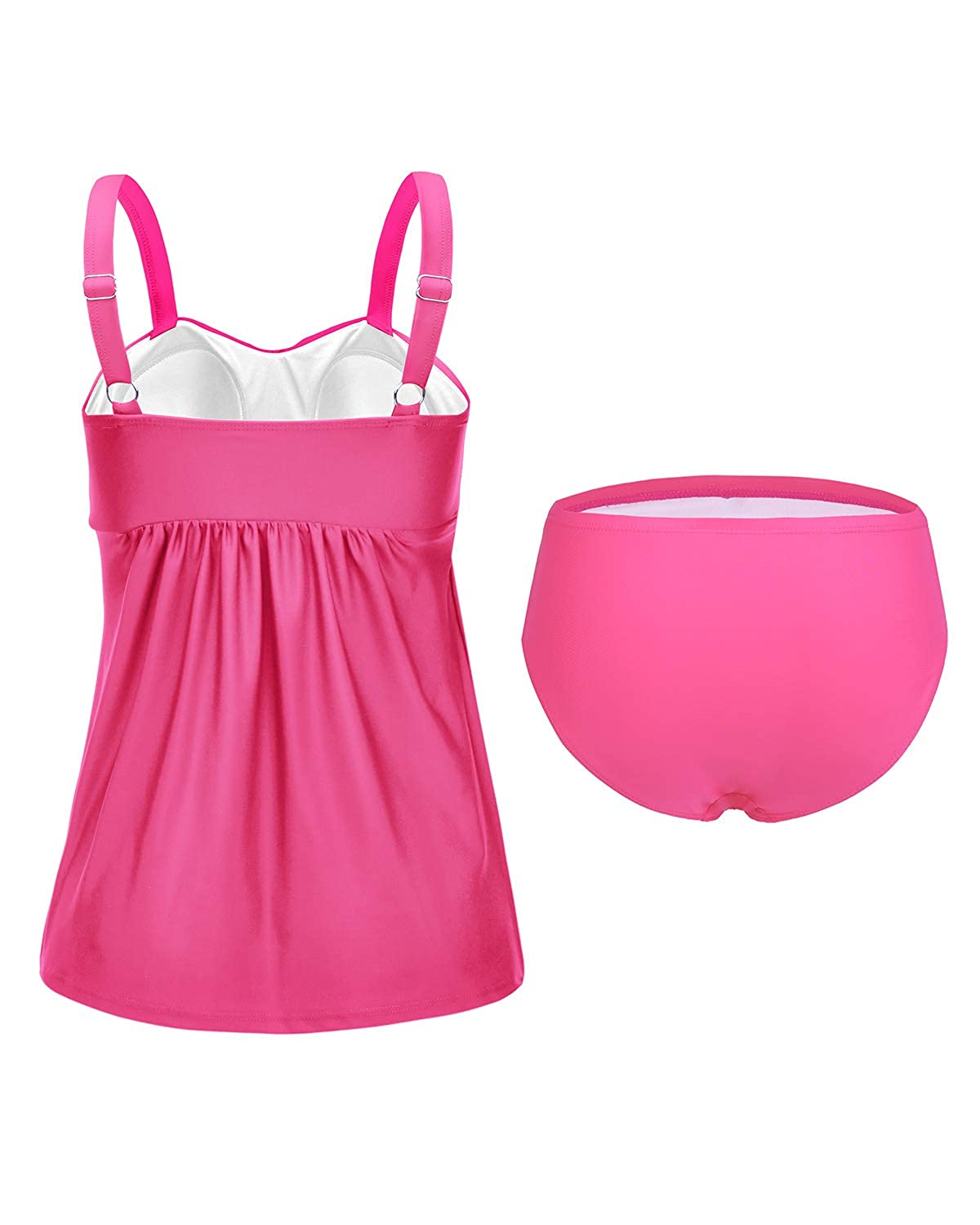 Hyling Womens Tankini Swimsuits Ruched Two Pieces Tankini with Triangle Tummy Cover Swimwear