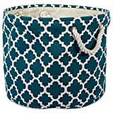 """DII Collapsible Polyester Storage Basket or Bin with Durable Cotton Handles, Home Organizer Solution for Office, Bedroom, Closet, Toys, Laundry (Large Round – 15x16""""), Teal Lattice"""