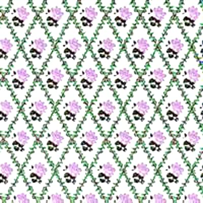 Melody Jane Dollhouse Lilac Rose Trellis on White Miniature Print 1:12 Scale Wallpaper: Toys & Games