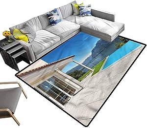 Italian, Rug Pad Lake Maggiore Swedish Alps Luxury Shag Carpets Decorative Footcloth/Floor Cover/Play Mat, 4'x 4'