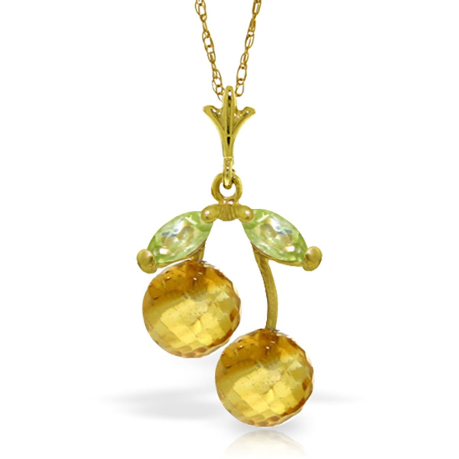 ALARRI 1.45 Carat 14K Solid Gold Summer Love Citrine Peridot Necklace with 20 Inch Chain Length
