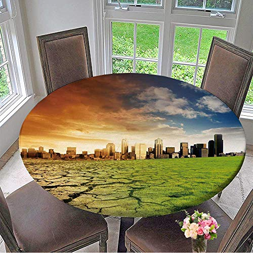 - Mikihome The Round Table Cloth Effect of Global Warming on a City for Birthday Party, Graduation Party 59