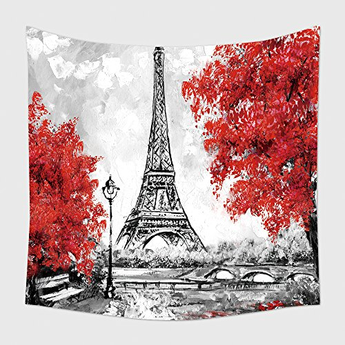Home Decor Tapestry Wall Hanging Oil Painting Paris European City Landscape France Wallpaper Eiffel Tower Black White And Red 533019160 for Bedroom Living Room (Halloween Makeover London)