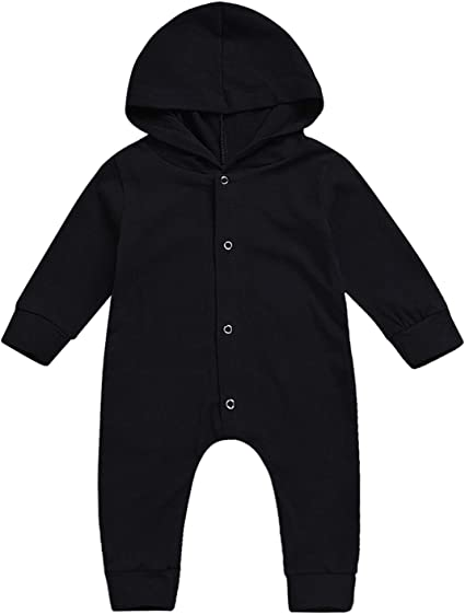 Infant Boy Girl Kids Cotton Hooded Long Sleeve Solid Romper Jumpsuits Clothes