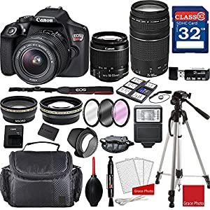 Canon EOS Rebel T6 DSLR Camera w/ EF-S 18-55mm f/3.5-5.6 IS II and EF 75-300mm f/4-5.6 III Lenses + Professional Accessory Bundle