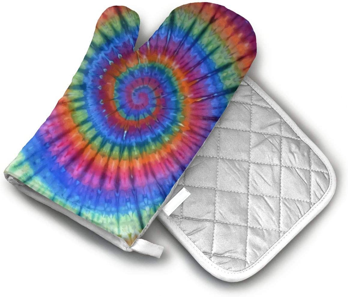 CHENMr Oven Mitts and PotholdersPsychedelic Tie Dye(2-Piece Sets), Advanced Heat Resistant Oven Mitt, Non-Slip Textured Grip Pot Holders