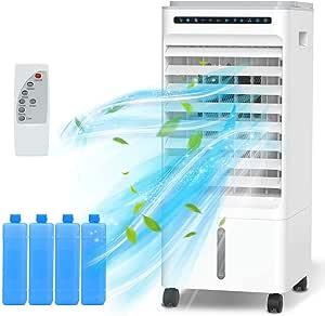 Nobebird Aire Acondicionado, 4 en 1 Móvil Climatizador Evaporativo Ventilador Humidificador Purificador, con Ruedas y Tanque de Agua 5L, 3 Velocidades, Temporizador, Mando a Distancia Hogar Oficina