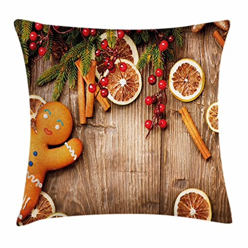 Gingerbread Man Throw Pillow Cushion Cover by Ambesonne