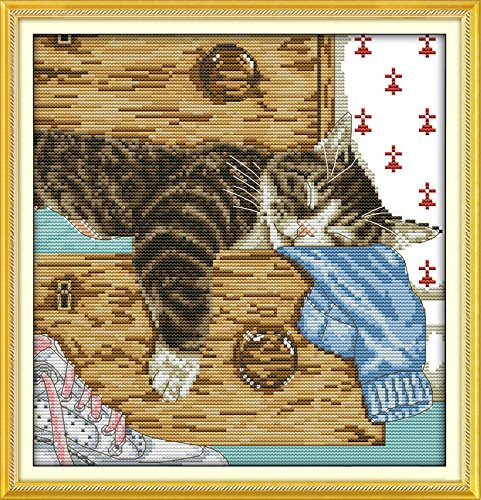 Lovely Lazy Cat Cross Stitch Kit Animal Cartoon Picture 11ct Printed Embroidery Diy Handmade Needlework Craft Home Decor