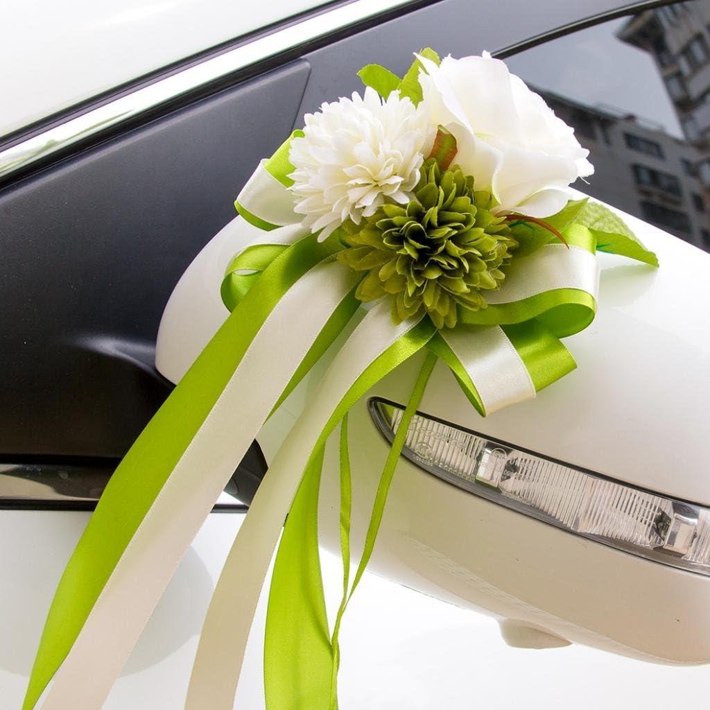 Verde 30 x 15 x 8 cm Coccarde Fiocchi Fiore di Seta per Auto di Matrimonio