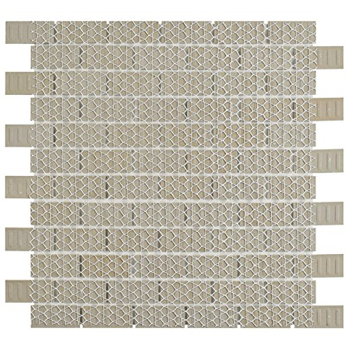 SomerTile FKOVBS11 Marion Subway Porcelain Mosaic Floor and Wall Tile, 11.875'' x 12'', Glossy White by SOMERTILE (Image #2)