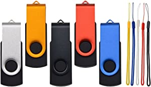 Flash Drive 32GB 5 Pack USB Thumb Drives, USB 2.0 Pen Drive Bulk Swivel USB Stick, Kepmem Metal Jump Drive 32 GB Zip Drive Data Storage Memory with Colors Lanyards for Photos, Video, MAC, PC