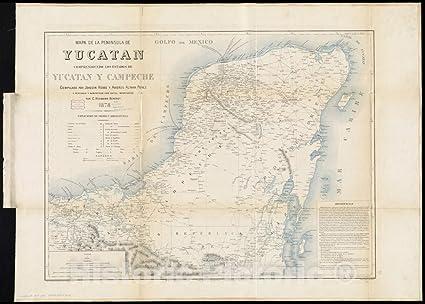 Mapa De La Peninsula.Amazon Com Vintage Map 1878 Mapa De La Peninsula De
