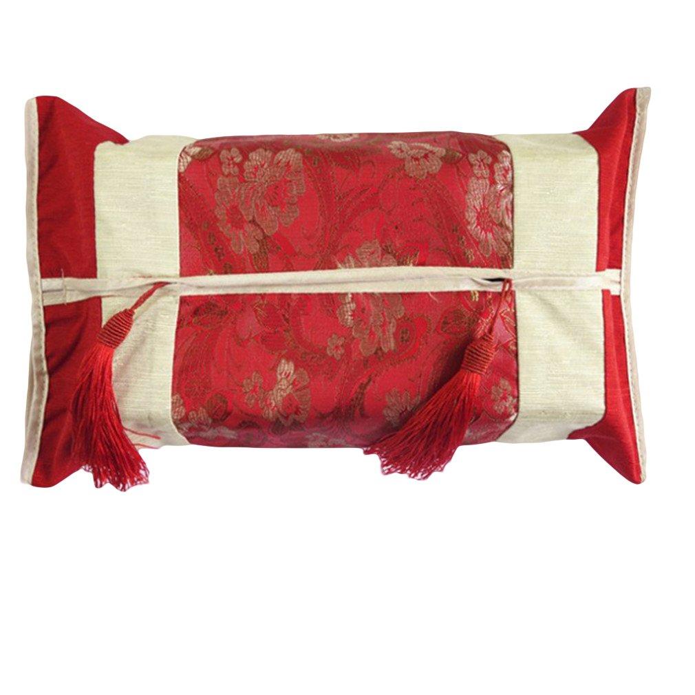 LnLyin Flower Embroidered Linen Cotton Tissue Box Cover Cloth Tissue Box Plush Cloth Tissue Box Holder Office/Car/Restaurant Paper,Purple,One Size