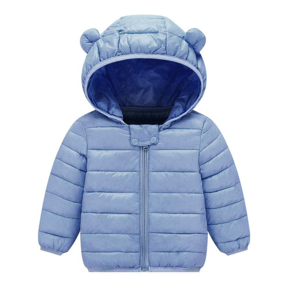 Yezijin Toddler Baby Kids Little Boy Girl Winter Hooded Jacket Thick Keep Warm Outerwear Coat 0-4 Y