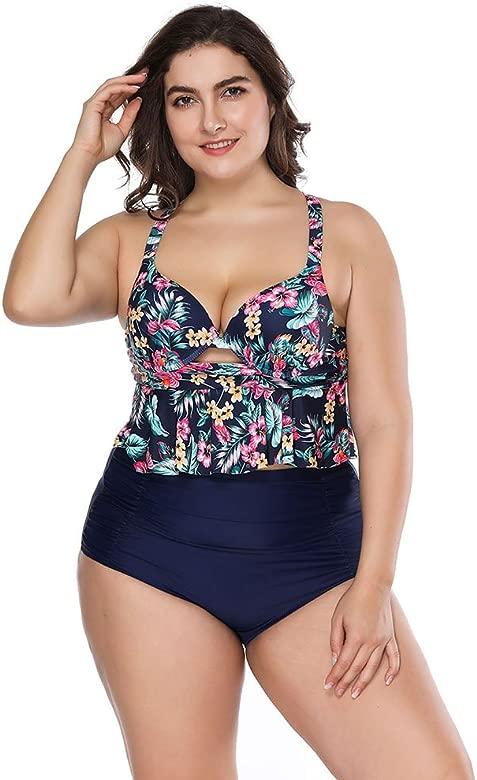 FeelinGirl Bikini Tankini de baño Mode Trikini bañador Retro Grande tamaño Bikini Sets Plus Size Bandeau Alta Cintura Bikini Mujer Vientre vía