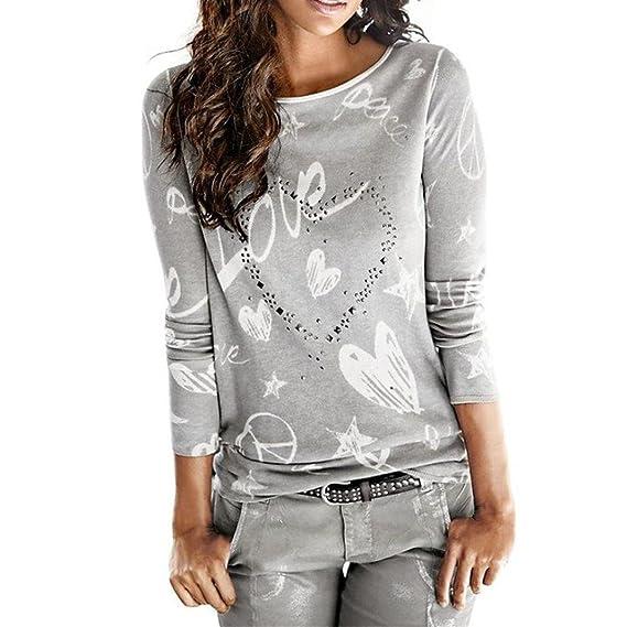 Koly Moda Mujer Señoras Impreso Blusa, Mujer Señoras O-Neck de manga larga Algodón