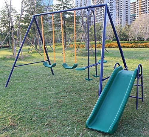 KLB Sport A-Frame Metal Swing Set w/ Slide (Blue)