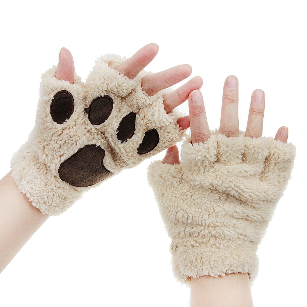 Bao Core Women//Girls Cartoon Animal Character Protective Paw Half Finger Thick /& Warm Coral Fleece