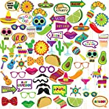 Fiesta Photo Booth Props – 72-Pack Mexican Photo Booth Props, Selfie Props, Photo Booth Accessories, Party Supplies, Assorted Designs for Cinco De Mayo, Dia de Muertos, Theme Parties