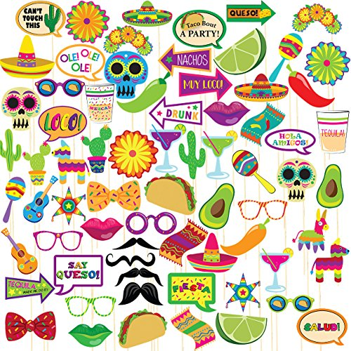 (Fiesta Photo Booth Props – 72-Pack Mexican Photo Booth Props, Selfie Props, Photo Booth Accessories, Party Supplies, Assorted Designs for Cinco De Mayo, Dia de Muertos, Theme)
