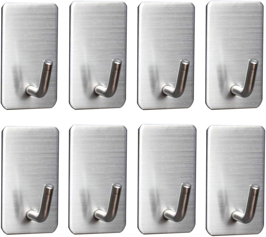 Self Adhesive Hooks, Removable Wall Hooks, Meirenda Sticky Hangers, Bathroom Towel Sticky Adhesive Wall Hooks Hanging Hooks for Office Home Robe Kitchen Keys Bags 8pack