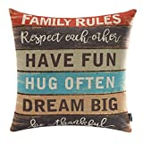 TRENDIN 18'' X 18'' Retro Colorful Wooden Board Style Family Rules Linen Pillow Case Cushion Cover Decorative(PL076)