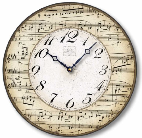 Item C2302 Vintage Style 12 Inch Music Notes Clock