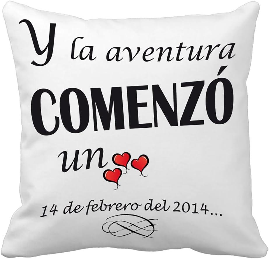 Calledelregalo Regalo para tu Pareja por San Valentín o vuestro Aniversario: cojín 'Amor' Personalizado con Fecha