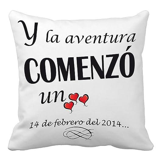 Calledelregalo Regalo para tu Pareja por San Valentín o vuestro Aniversario: cojín Amor Personalizado con Fecha