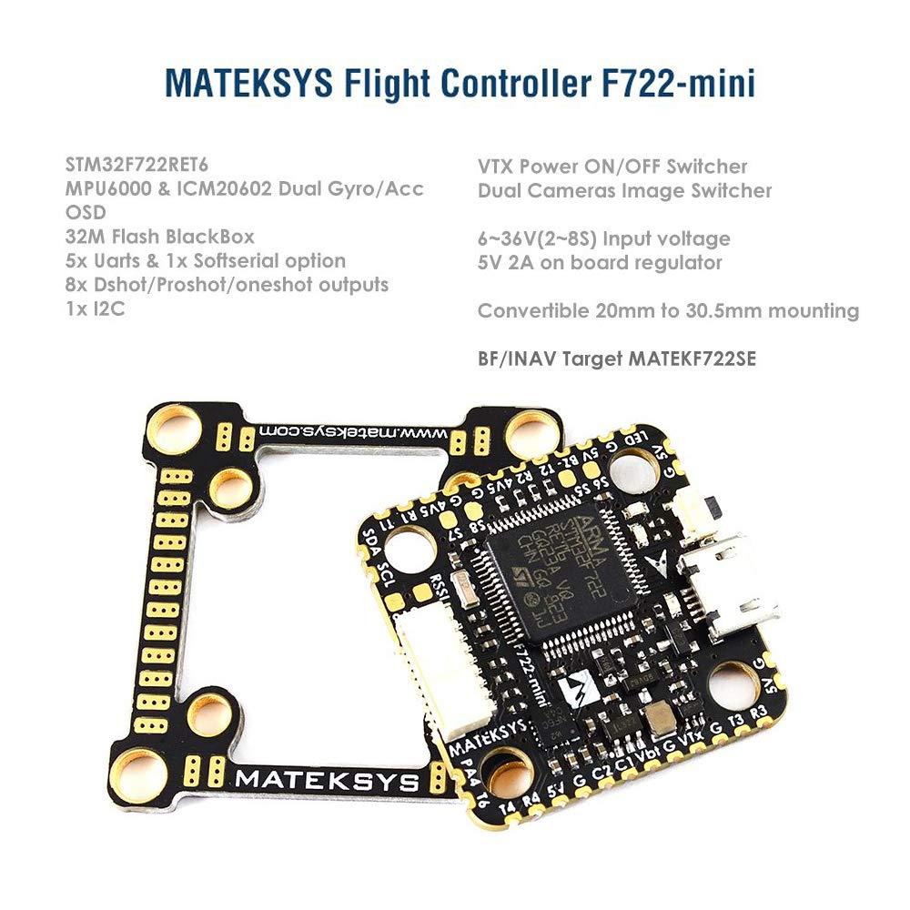 Makerfire Mateksys フライトコントローラー F722-Mini OSD デュアルジャイロ/Acc 32M フラッシュ 5V/2A BEC ブラックボックス RC FPV レーシングドローン用 B07MJK7HT2
