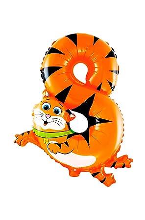 Partygram- Globo de Cumpleaños, Gato, Número 8, Color naranja (PG00475-08)