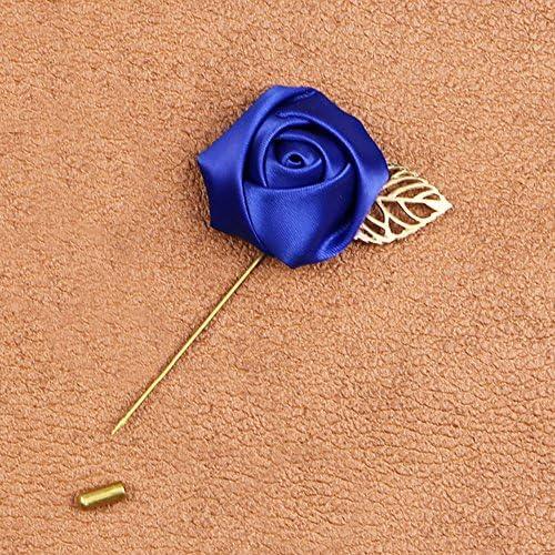 エレガント ラペル 手作り ブートニエール スティック ブローチピン コサージュ バラ アクセサリー 青い花