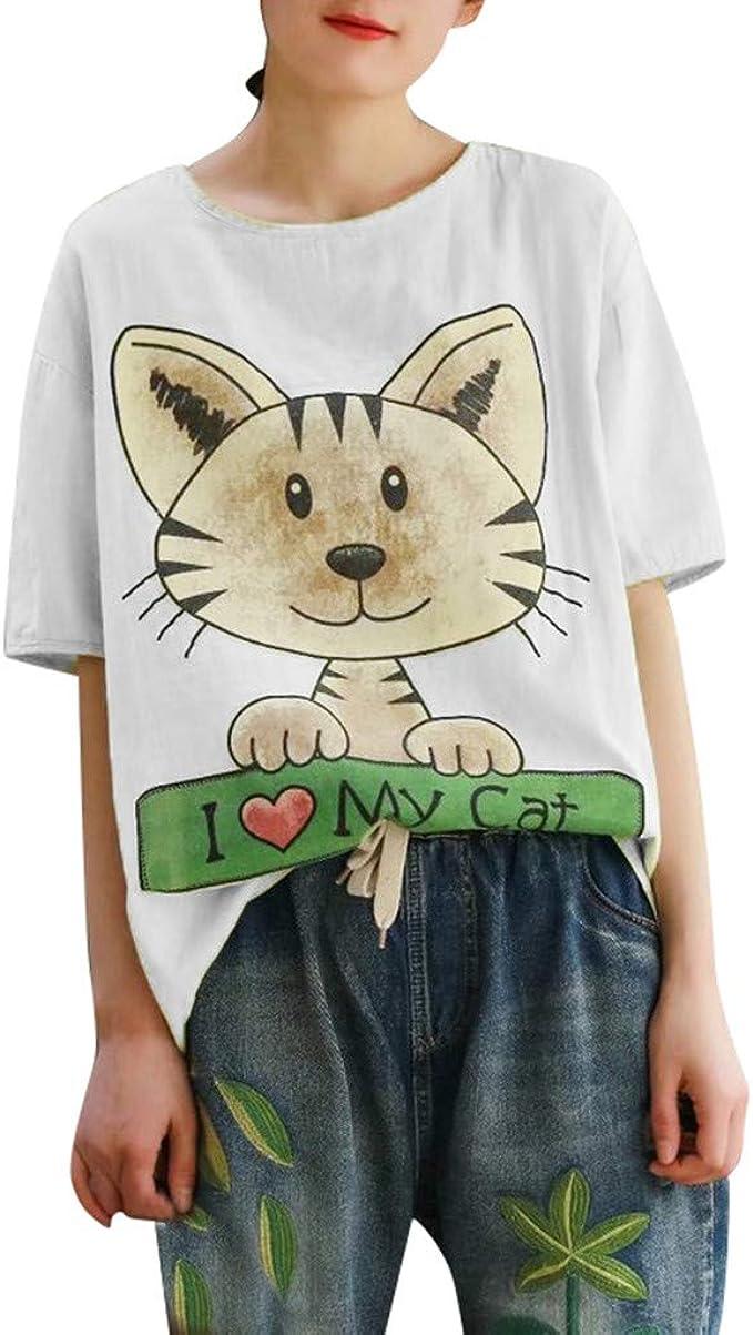 VEMOW Blusas Mujer Camiseta de Manga Blusas Larga con Estampado de Gato con Cuello en O para Mujer Tops: Amazon.es: Ropa y accesorios