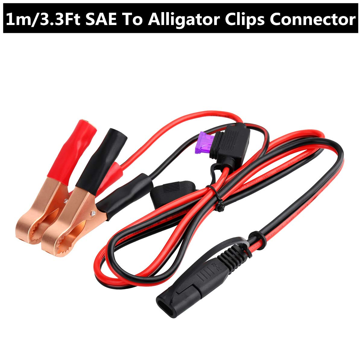 Car Tractor with 3 Type Fuse 2 Pin Lug Quick Disconnect Extension Cable Eyelet Terminal Charge Cord for Motorcycle Aimofox SAE Connector to O Ring Terminal Harness Wire