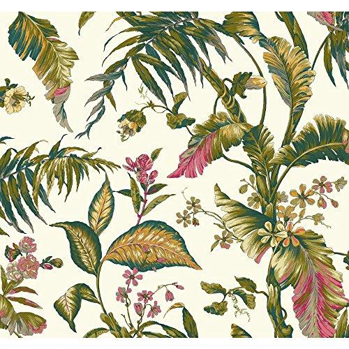 York Wallcoverings Tropics Fiji Garden Removable Wallpaper, White/Teal/Aqua/Pink/Magenta/Yellow/Green ()