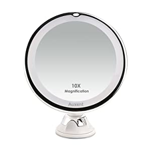 Auxent Espejo de maquillaje LED 10X Aumento Espejo cosmético luminoso con base de ventosa, 360 Rotación, Portátil y sin cable, Blanco