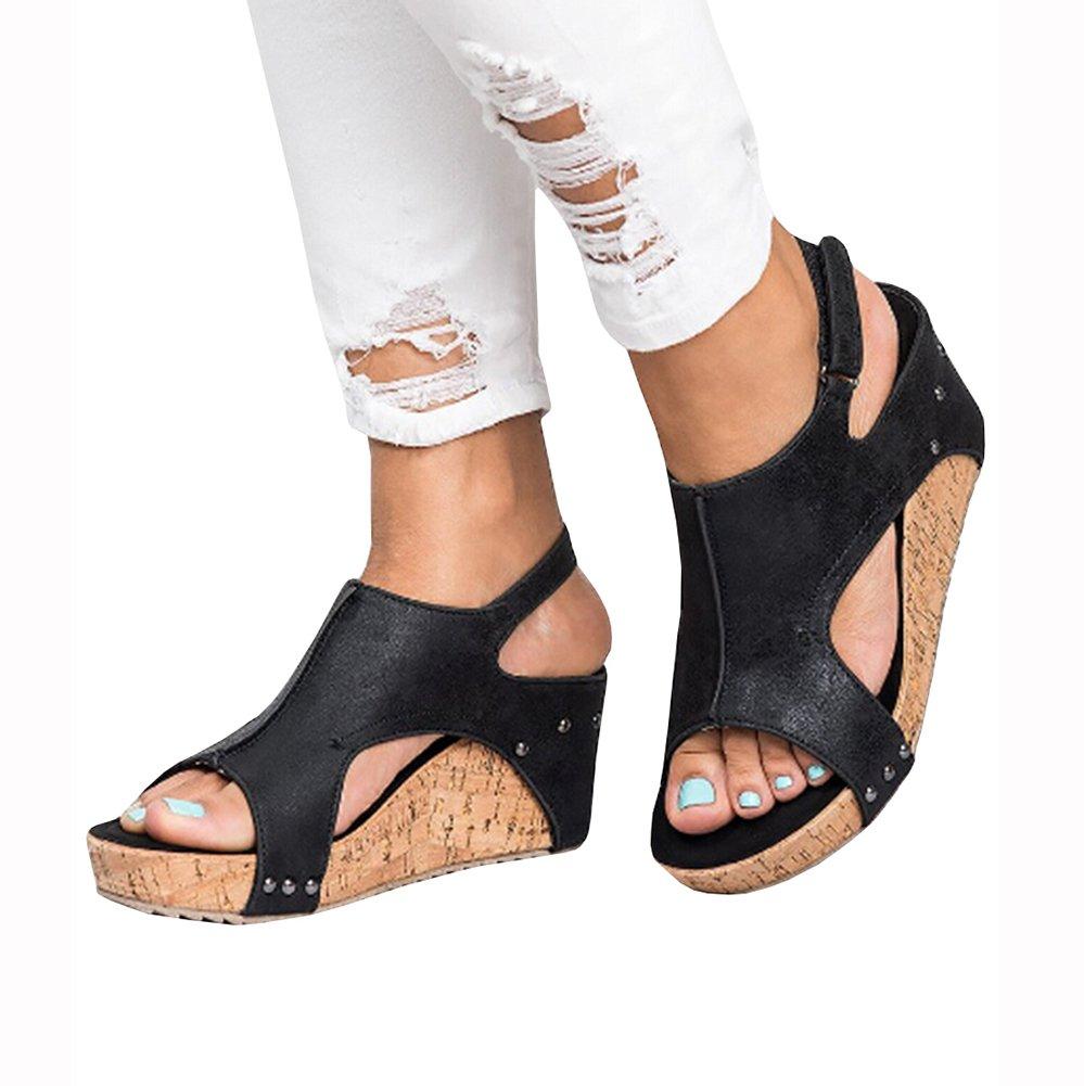Sibylla Women's Fashion Peep Toe Buckle Blocking Heeled Hook-Loop Wedges Sandals Summer Heeled Blocking Snadals B07CWCK8KQ 9.5 B(M) US - EU Size 41|Black a78f85