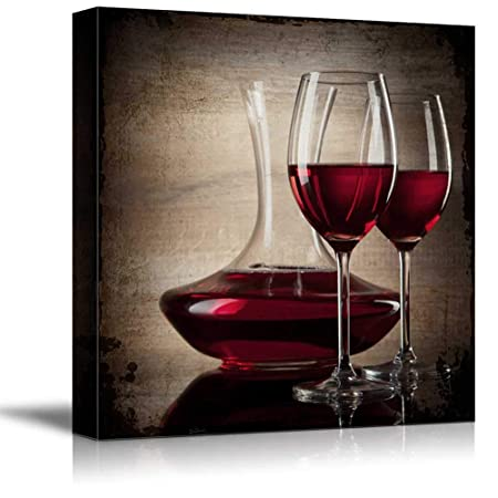 wall26 – Square Canvas Wall Art – Red Wine in Glasses – Giclee Print Gallery Wrap Modern Home Decor Ready to Hang – 24×24 inches