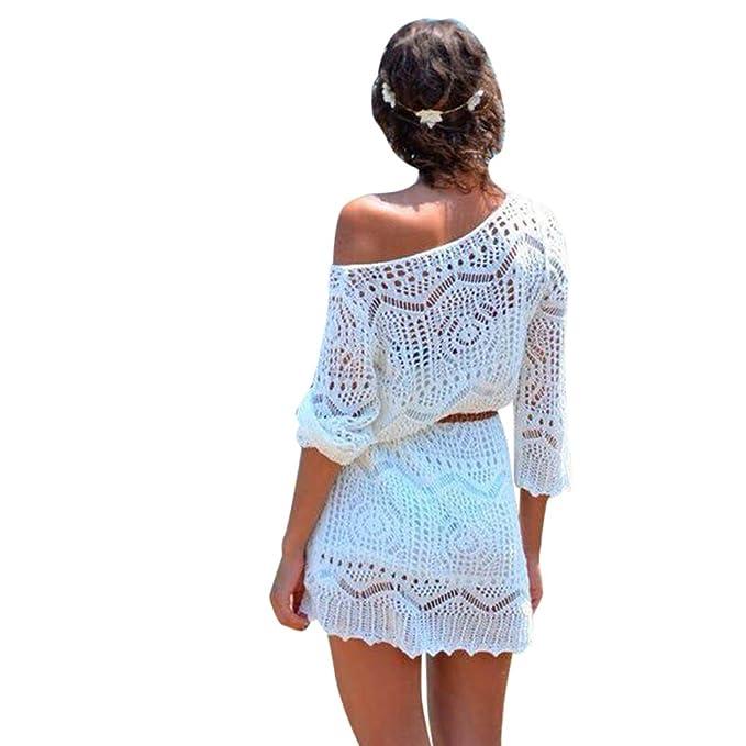 LHWY Las Mujeres Hueco Fuera Blanco Encaje Vestido Playa Fiesta Vestidos con Cinturón (S)
