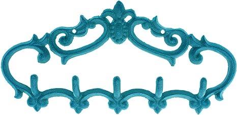 BLUE KEYS Wall Mounted Hook Holder Hanger Rustic Shabby Chic Cast Iron Decor