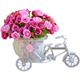 Voberry Home Decorative Furnishing Floats [Bicycle Basket] [Mini Bike] Rose Flowers Tricycle Plant Stand (Rose)
