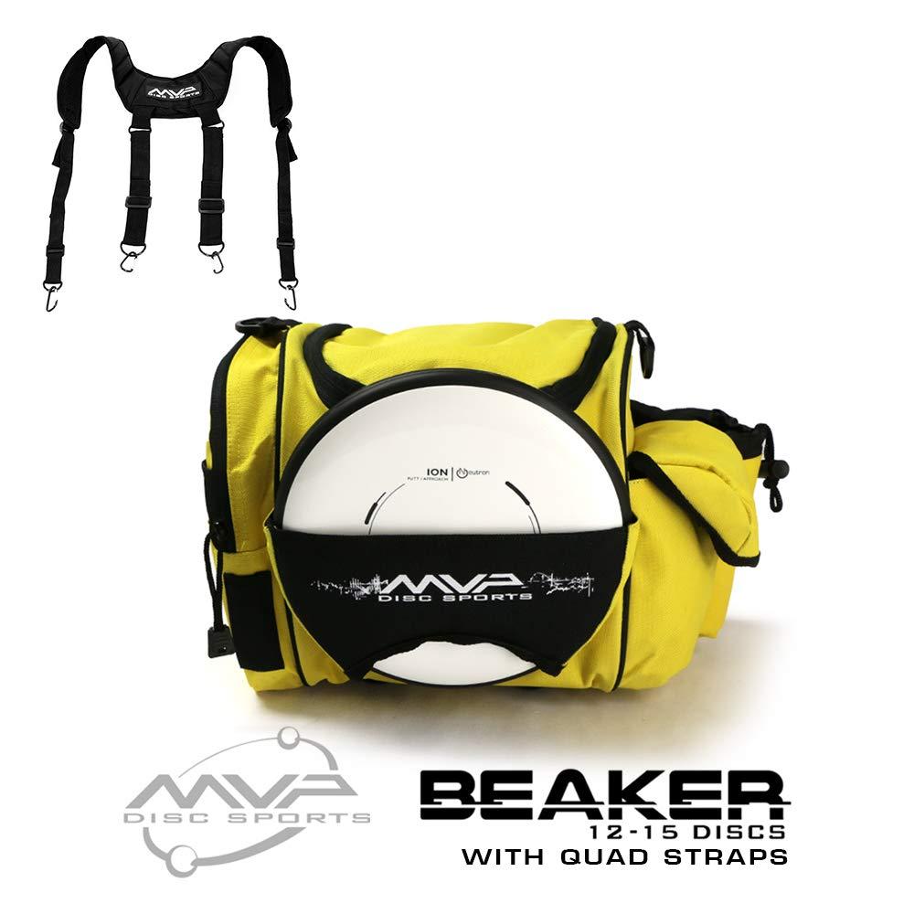 MVP Disc Sports MVP Beaker Competition Disc Golf Bag + Quad Straps - Yellow by MVP Disc Sports