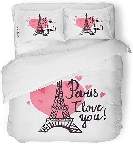 I Love You Duvet Cover Set Twin Queen King Sizes with Pillow Shams Bedding