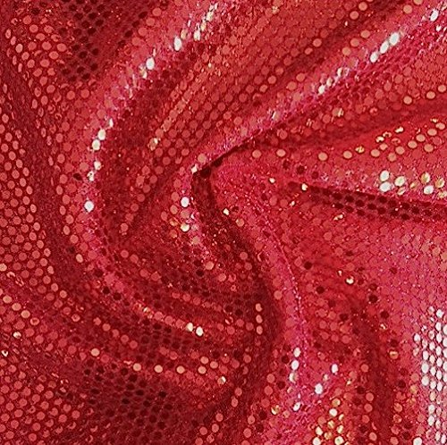 Shiny Dots - Faux Sequin Knit Fabric Shiny Dot Confetti for Sewing Costumes Apparel Crafts by the Yard (1 YARD, Red)