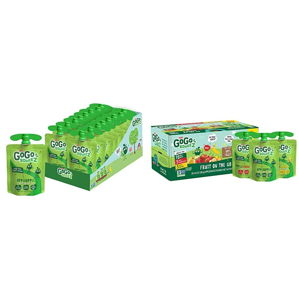 GoGo squeeZ Applesauce, Apple Apple, 3.2 Ounce (18 Pouches) & Applesauce, Variety Pack (Apple/Banana/Strawberry), 3.2 Ounce (20 Pouches), Gluten Free, Vegan Friendly, Unsweetened