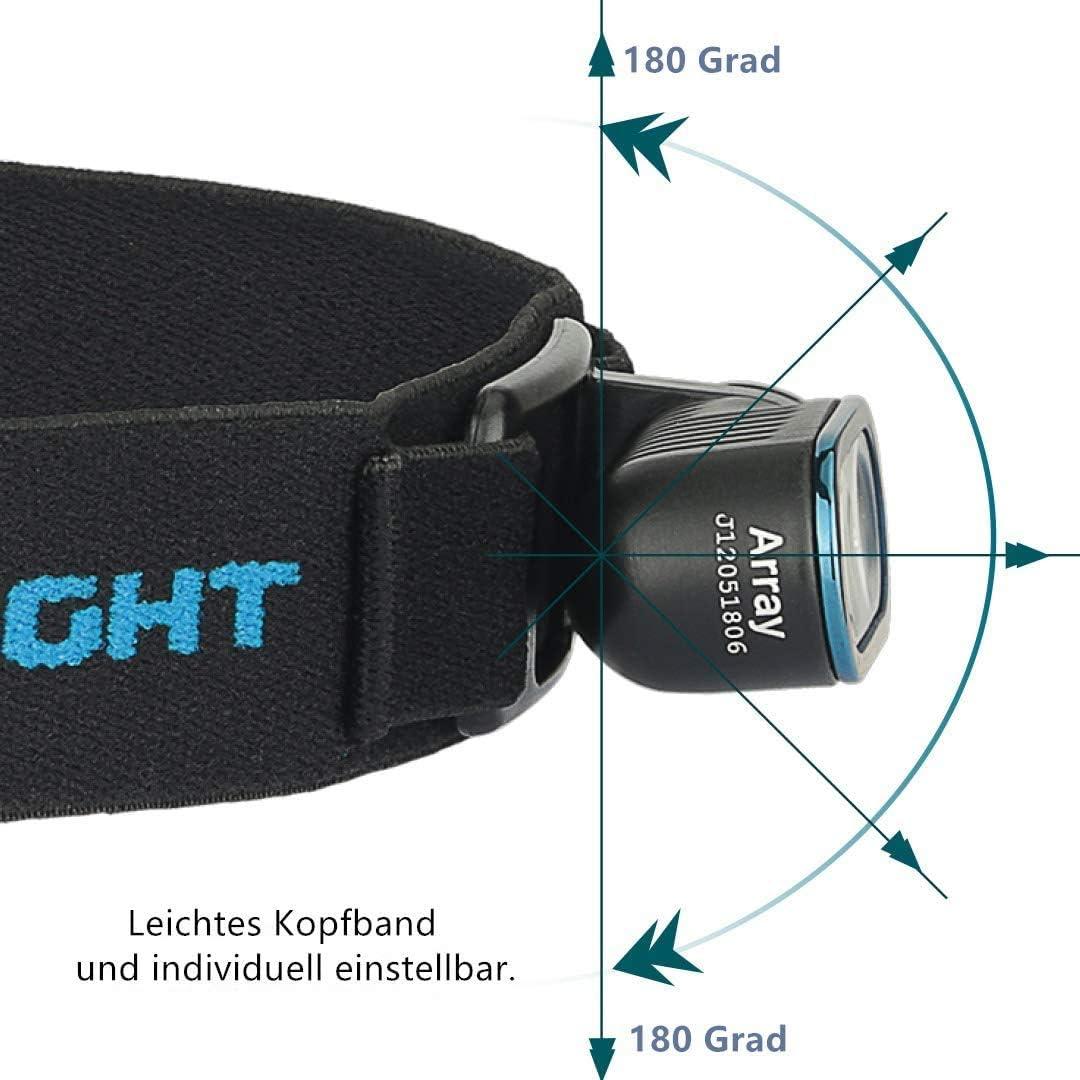 wasserdichte Stirnleuchte f/ür Joggen Laufen OLIGHT Array Stirnlampe LED Wiederaufladbar USB Kopflampe Stirnlampe 400 Lumen,Taschenlampe mit 80m Leuchtweite 4 Leuchtstufen 180/° Verstellbar