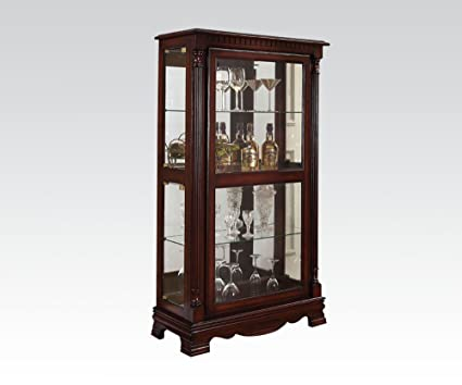 Amazon Acme Carrie Cherry Curio Cabinet With 4 Side Doors