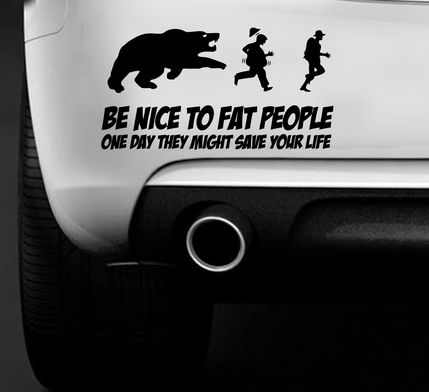 Be nice to fat people funny car van sticker car boat window vinyl decal amazon co uk car motorbike