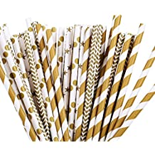 ZOOYOO 100pcs Paper Drinking Straw Gold Star, Chevron, Stripe Paper Straws for Birthdays, Weddings, Baby Showers, Celebrations and Parties